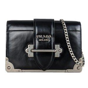 Prada Cahier Black Leather Cross Body Bag